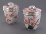 A pair of regence silver-mounted japanese imari porcelain pots and covers